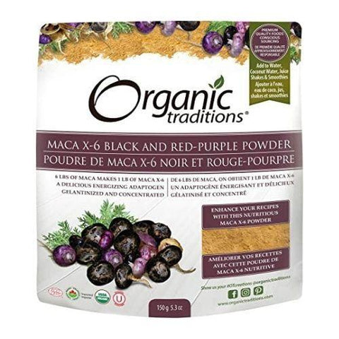 Maca X-6 Black and Red-Purple Powder, Organic, Organic Traditions 150g