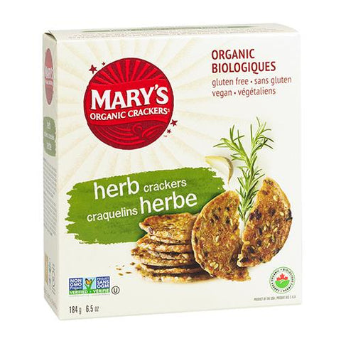 Crackers, Herb, Marys Organic 184g