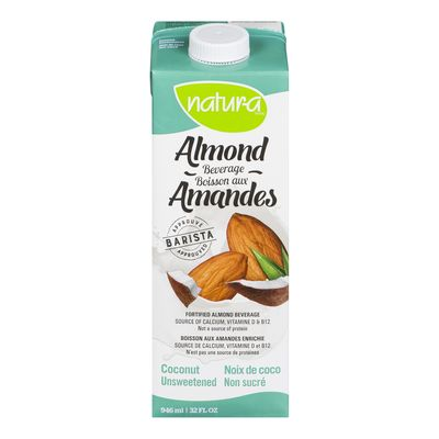 Almond Beverage, Coconut, Unsweetened, Natura, 946ml