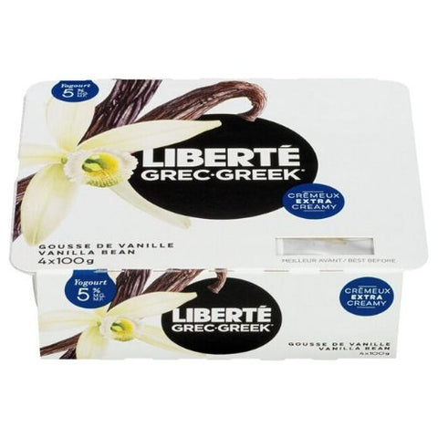 Greek yogurt, Vanilla Bean, Liberté, 4x100g