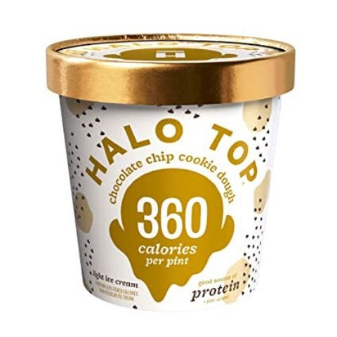 Ice Cream, Chocolate Chip Cookie Dough, Halo Top, 473ml