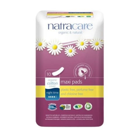 Maxi Pads, Night Time, Natracare 10 Units