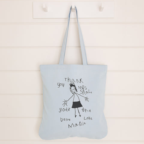 Thank you gift for teacher bag with child's drawing