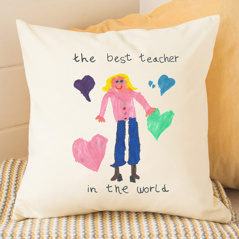 Cushion for teacher personalised gift kids drawing