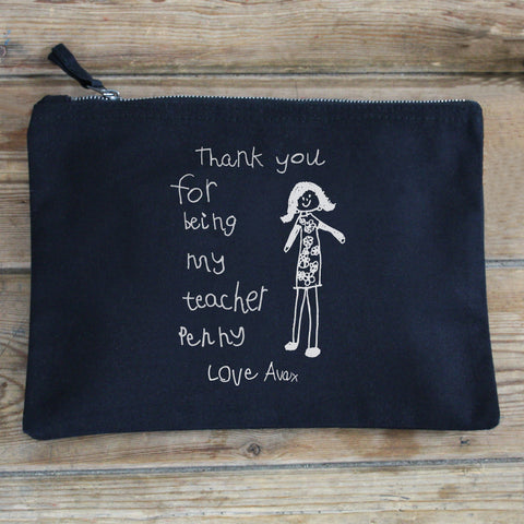 Thank you gift teacher pencil case child's drawing