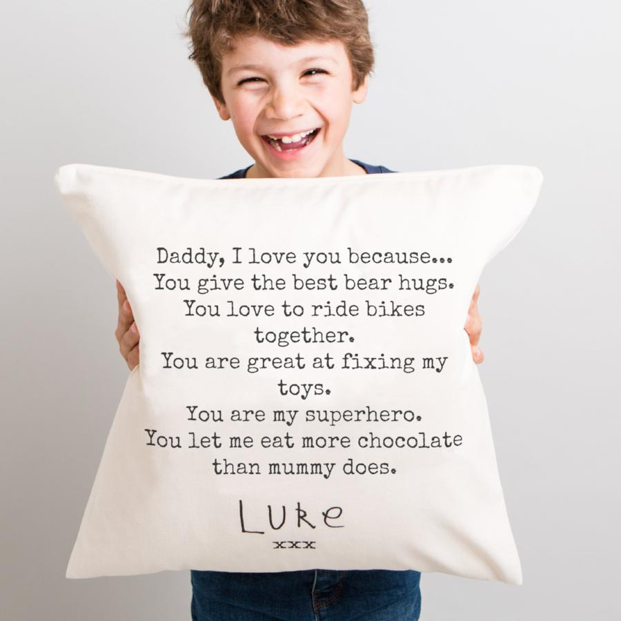 Personalised cushion for dad with thoughtful messages of love