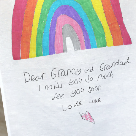 rainbow drawing personalised tea towel
