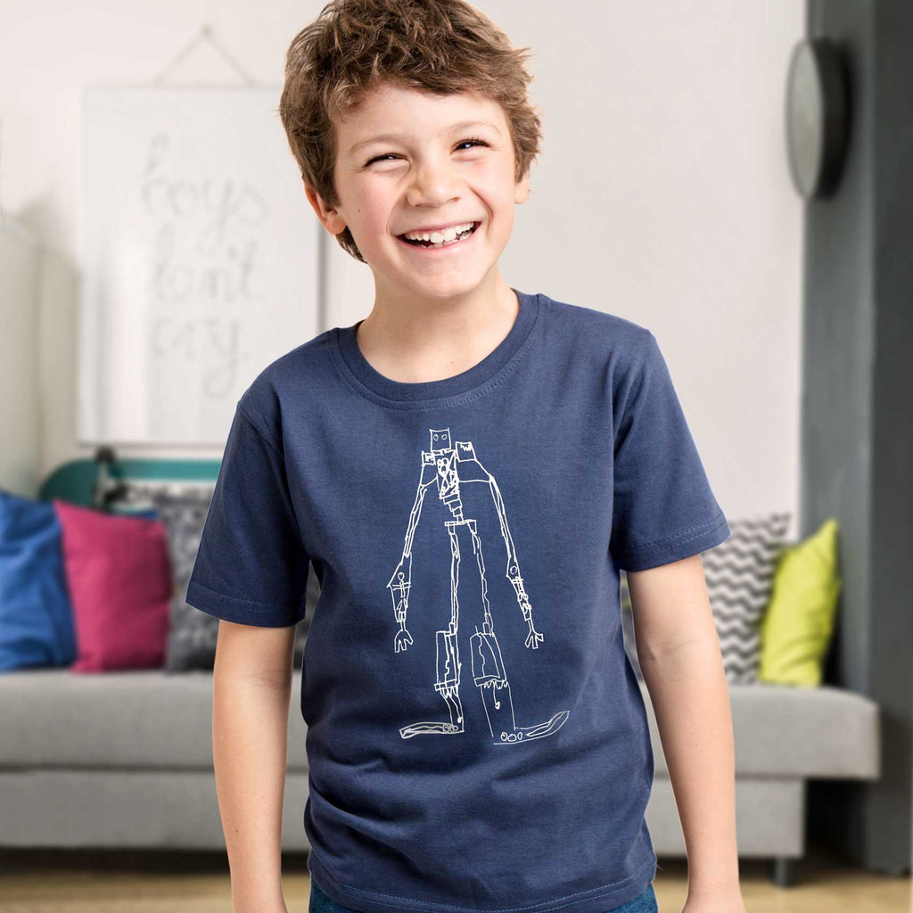 Chid's t-shirt printed with their drawing