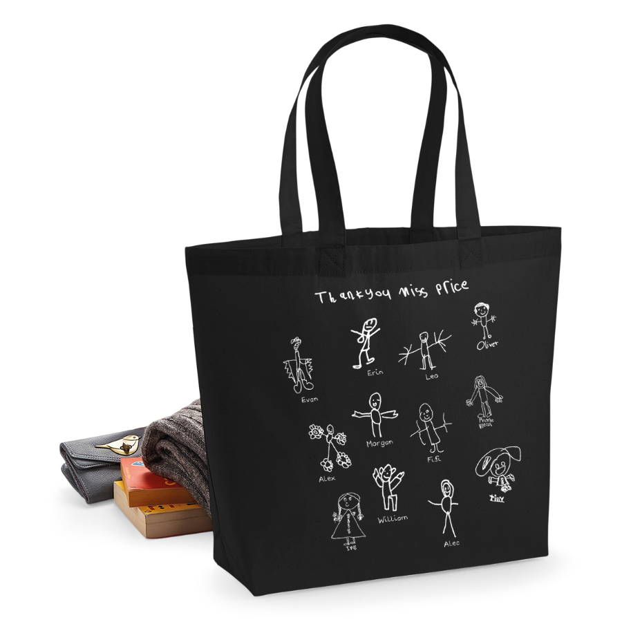 Teacher bag with children's self portraits