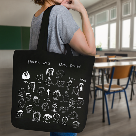 Gift for teacher bag with self portrait drawings from the class.