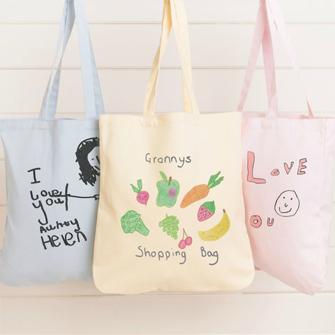 Pastel canvas tote bags