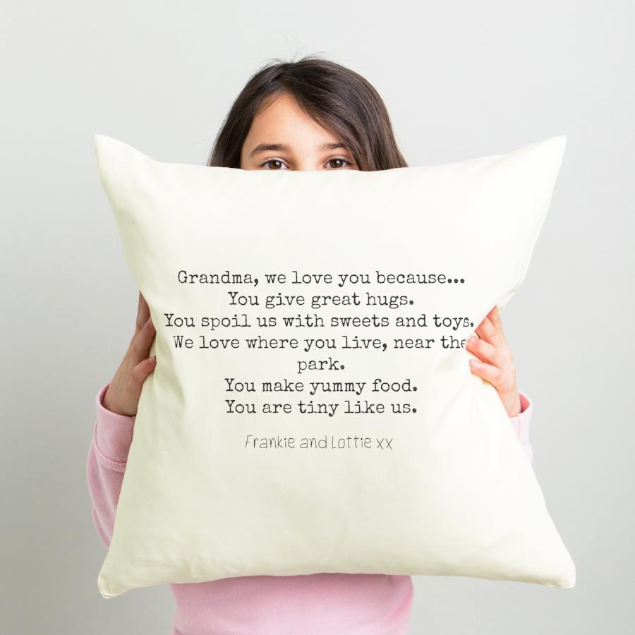 'We love you Grandma' cushion