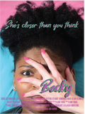 Pink and egg blue poster of Becky using her hand to cover black woman's face