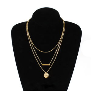 Geometric Metal Sequins Multi-Layer Short Necklace
