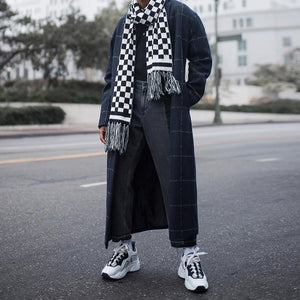 Men's Fashion Suit Collar Plaid Long Coat