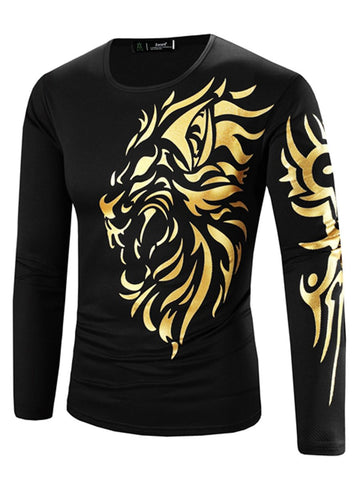 Round Neck  Printed  Long Sleeve Long Sleeves T-Shirts