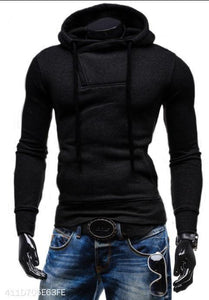 Basic Neckline Zipper Cotton Hoodie