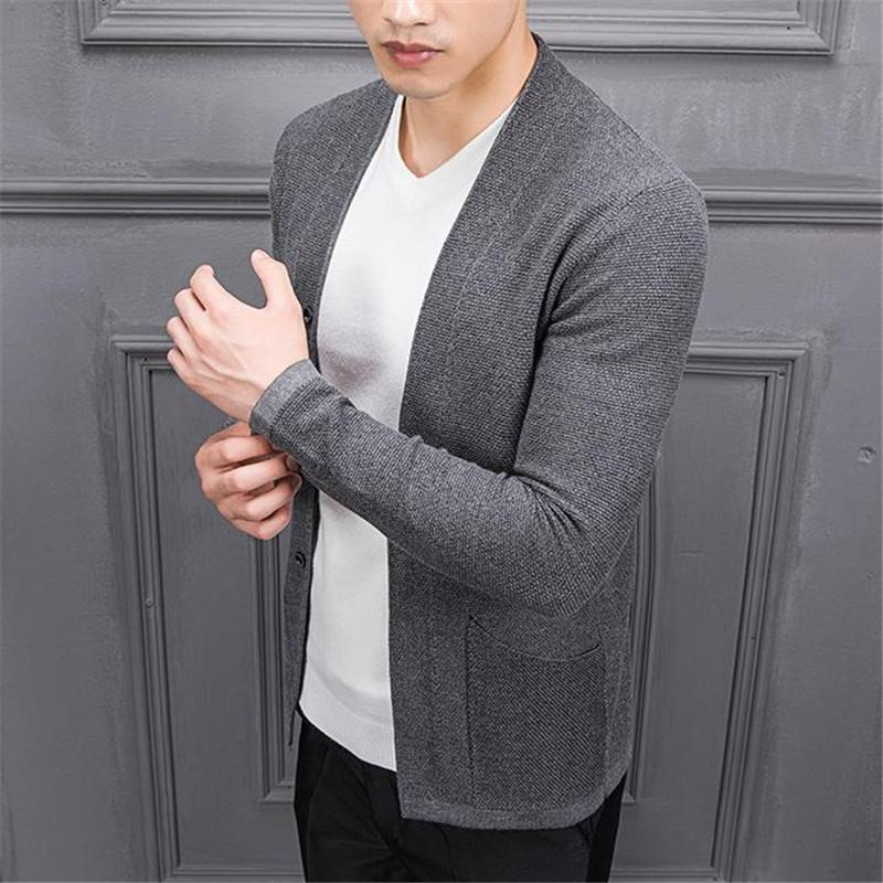 Fashion Youth Casual Slim Plain Long Sleeve Button Cardigan