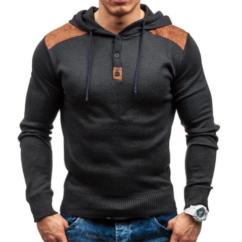 Fashion Casual Sport Slim Color Block Button Collar Long Sleeve Hoodie