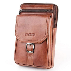 Large Capacity Genuine Leather Vintage Multi-Functional Phone Bag Waist Bag Crossbody Bag For Men