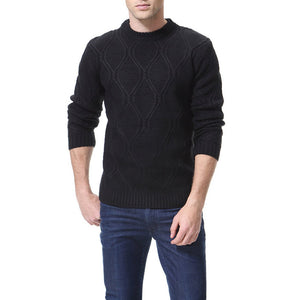 Mens  Casual Round Collar Slim Fit Plain Sweater