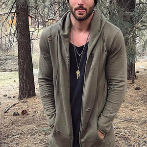 Fashion Mens Casual Hole Solid Color Hoodie