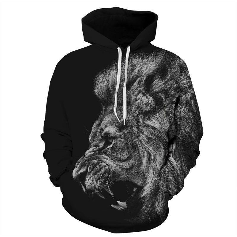 Fashion Loose Raving Lion Floral Printed Hoodie With Hat