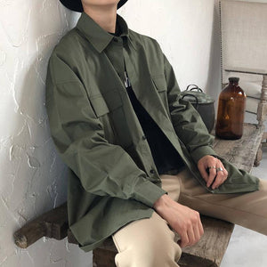 Fashion Lapel Collar Plain Packets Shirt