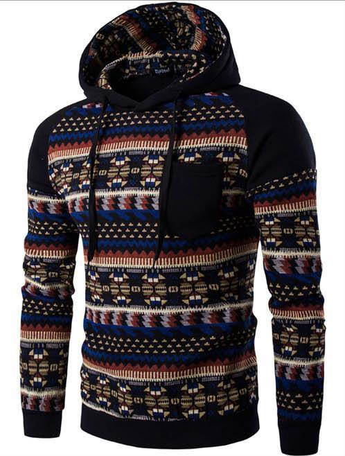 Fashion Winter Split Joint Printed Loose Hoodie With Hat