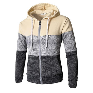 Fashion Sport Color Block Long Sleeves Fleece Thick Hoodie