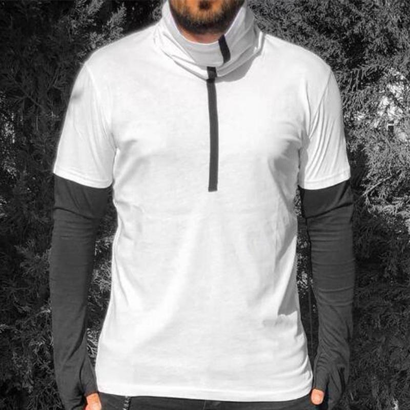 Casual Round Collar Plain Split Joint Bodybuilding Long Sleeve
