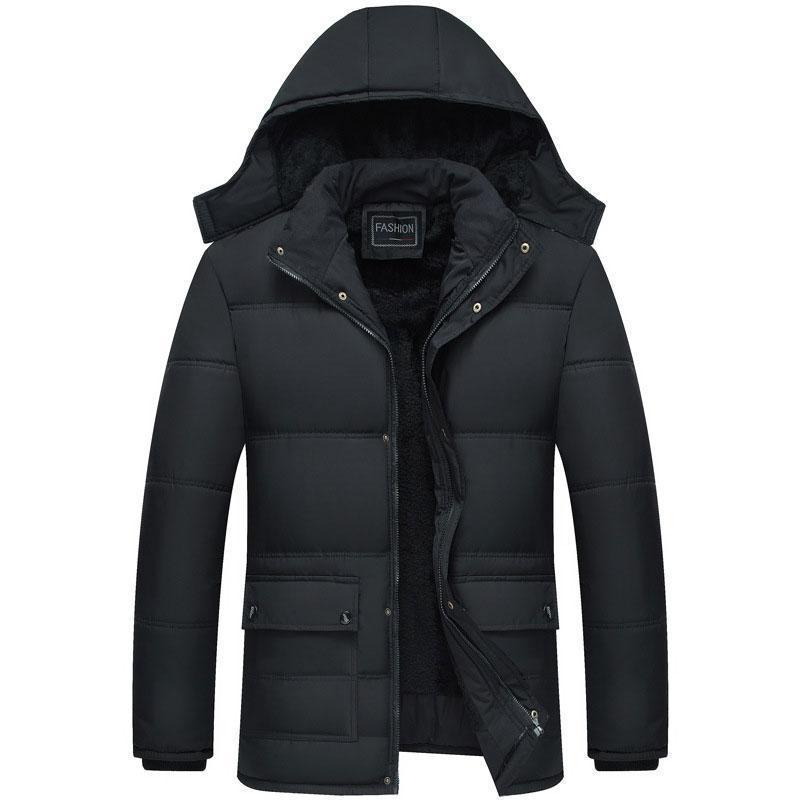 Casual Winter Plain Lapel Collar Floss Padded Zipper Coat