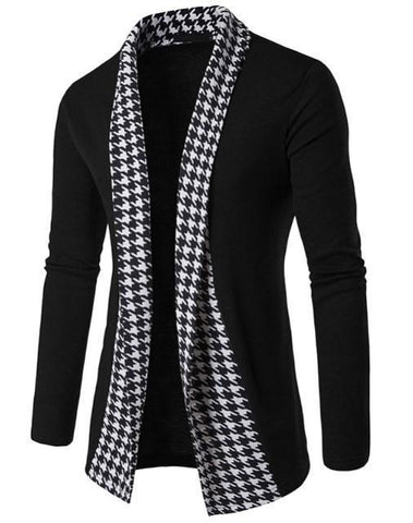 Autumn Black&White Plaid Men's Sweaters