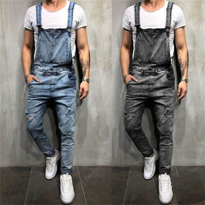 Fashion Water Wash Jeans Hole Strap Trousers