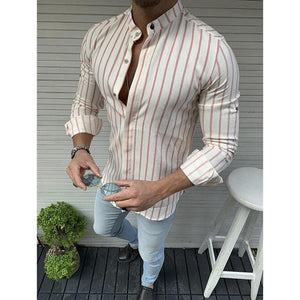 Gentleman Fashion Striped Stand Collar Shirt
