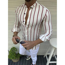 Load image into Gallery viewer, Gentleman Fashion Striped Stand Collar Shirt