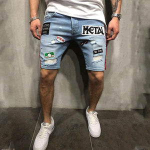 Men's Fashion Denim Hole Embroidery Shorts