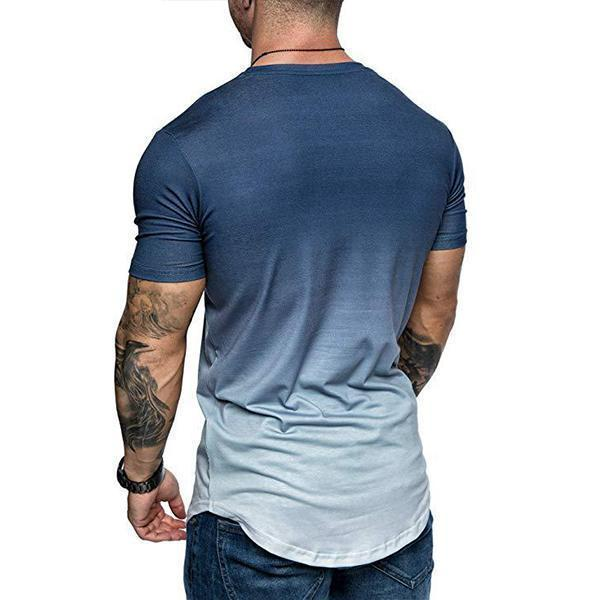 Men's Fashion Gradient Color Short-Sleeved T-Shirt