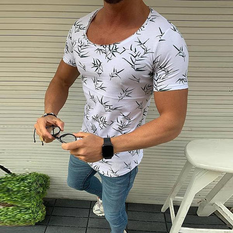 Men's Round Collar Short Sleeve Printed T-Shirt