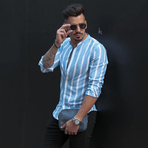 Classic Stripe Slim Fit Stand Collar Shirt