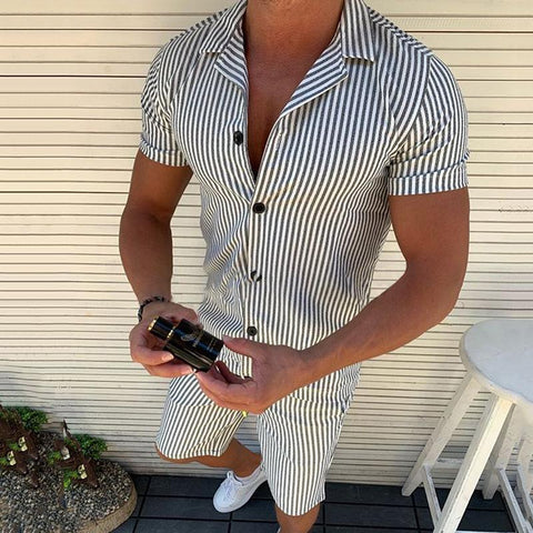 Simple Stripe Slim Fit Short Sleeve T-Shirt