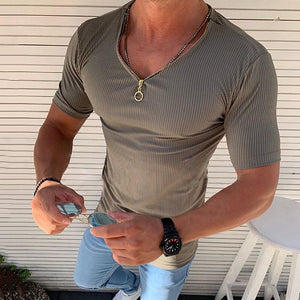 Casual Pit Stripe Zipper Slim Fit T-Shirt