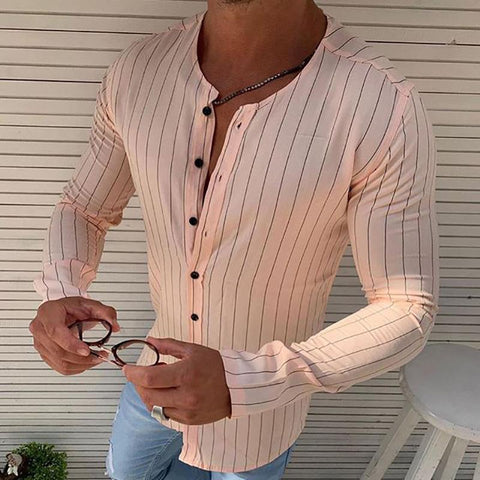 Simple Round Neck Stripe Shirt