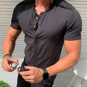 Stylish Slim Button Design T-Shirt