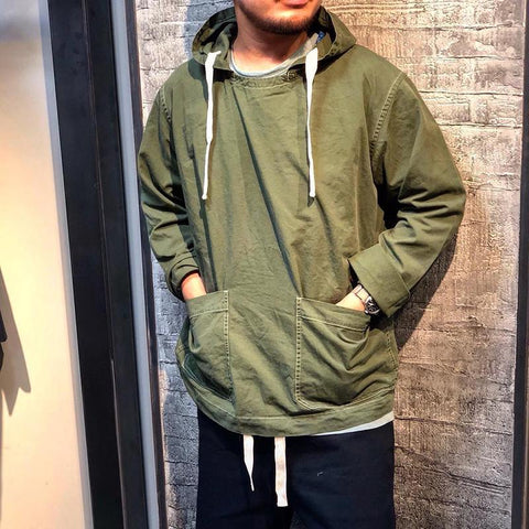 Simple Casual Double Pocket Hooded Sweatshirt