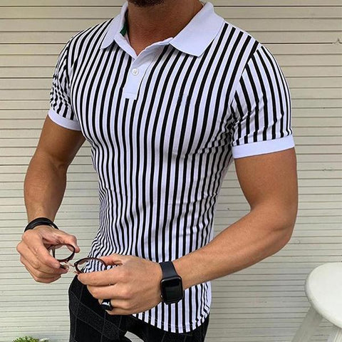 Men's Fashion Striped Lapel Short Sleeve T-Shirt