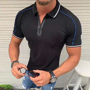 Casual Line Design Zipper Short Sleeve T-Shirt