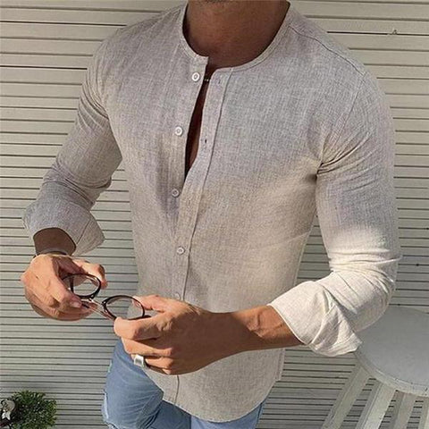 Casual Round Neck Linen Pure Colour Shirt