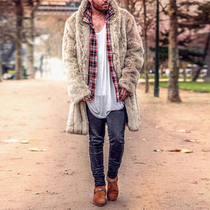 Winter Plain Thicken Faux Fur Keep Warm Long Coat