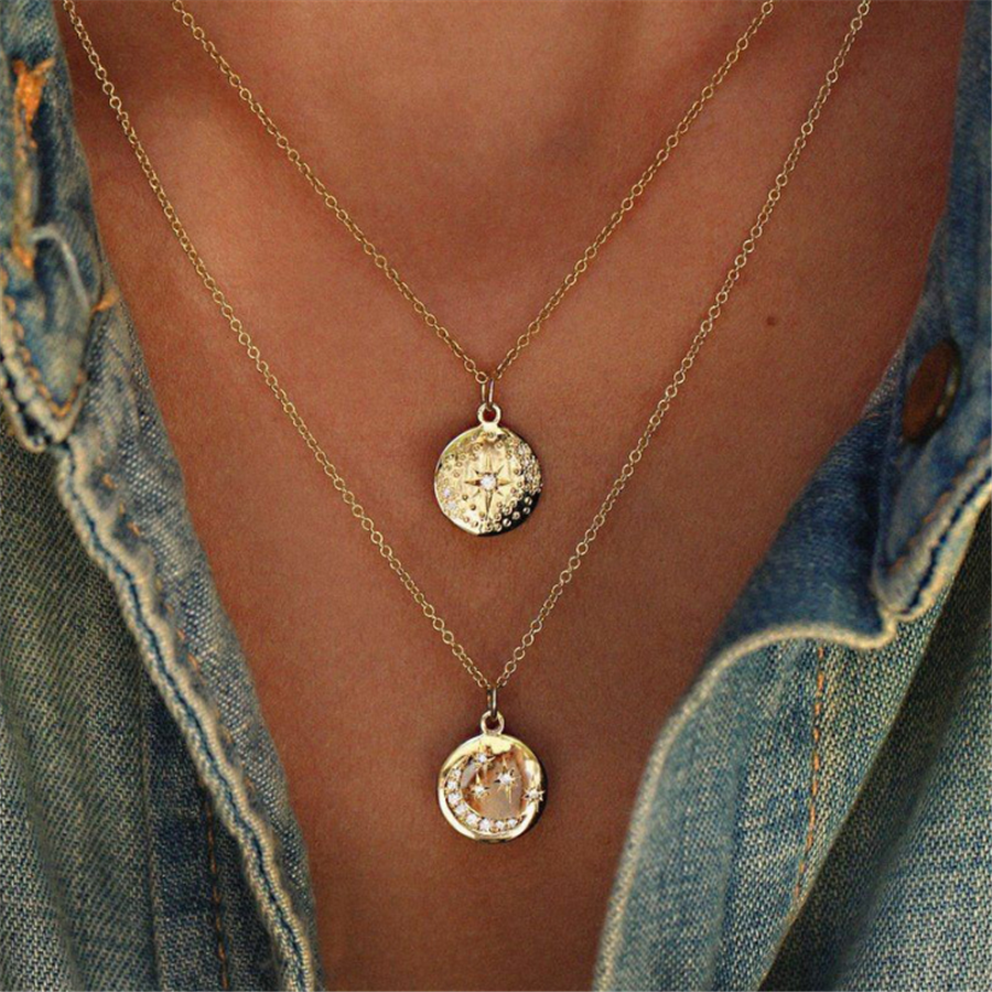 Moon Star Pendant Multilayer Necklace